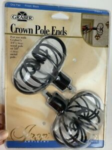 """Graber Crown Pole Ends 1 Pair Black Iron- use 3/4"""" Wood pole or 5/8"""" metal pole"""