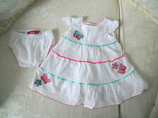 000 baby girls white dress & pants 3 - 6 mth butterfly flower motif bling Sprout