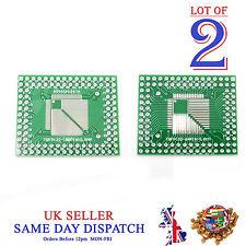 2x PCB QFP TQFP LQFP FQFP 32 44 64 80 100 Pin to DIP Adapter Board Converter
