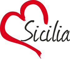 """Adesivo per auto """" SICILIA """" cuore Sticker ca.9x11 cm taglio contorno …"""