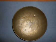 "VINTAGE BRASS ENGRAVED SHALLOW BOWL DISH ~ 7"" ~ DRAGON MOTIF ~ MARKED ""CHINA"""