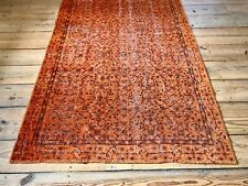 "8'4"" x 5' Vintage Hand Knotted Overdyed Orange Turkish Wool Area Rug"