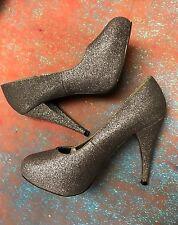 BUMPER, Size 7.5 High Heel Stilettos Silver Sparkle