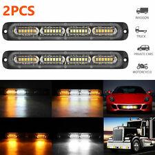2X White Amber 24 LED Car Truck Emergency Warning Hazard Flash Strobe Lights Bar
