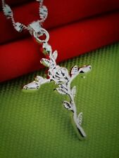 beautiful womens 925 Sterling silver rose cross pendant necklace