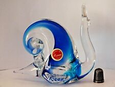 Labelled 1980's Murano/ Venetian Sommerso Glass Snail Paperweight Figurine