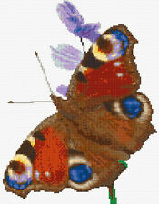 "Beautiful Peacock Butterfly - Animal Cross Stitch Kit - 14 Count Aida 8.6"" x 11"""