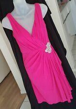EUC Badgley Mischka Royal Standard Dress Size 2 Magenta Pink w/ Crystals