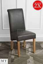 Amalfi - Set of 2  Scroll Roll Back Leather Black Dining Chairs  - My Furniture