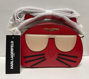 NWT KARL LAGERFELD MAYBELLE Top Handle CROSSBODY BAG Crimson Red Kitty Cat Purse