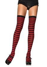PLAIN TOP STRIPED OPAQUE Thigh High Stockings 12 COLORS O/S