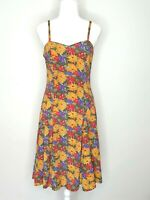 Y2k 2000s Floral Sleeveless Fit & Flare Spaghetti Strap Sundress Dress Size 10