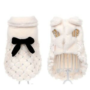 Pet Cloth Elegant Luxury Fur Winter Solid Overcoat Small Dog Cat Bow Knot 0.3kg