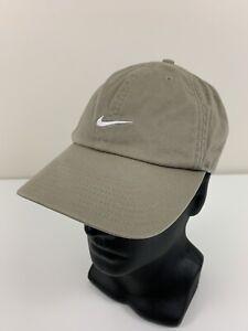 Nike Center Swoosh Beige Hat Adjustable Strap Baseball Cap Grey Tag Cotton EUC