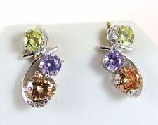 14K White Gold Plated 7 Carat Peridot, Amethyst, and Champagne CZ Drop Earrings