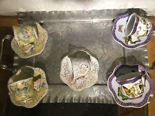 5 Sets- Vtg. Demitasse Porcelain Butterfly Handle cup Saucer Baum  Formalities