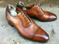 NEW-Mens Handmade Shoes Tan Leather Oxford Brogue Lace Up Classic Dress Formal