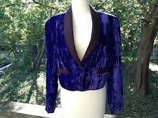 Vtg 80s? Purple Velvet Cropped Tuxedo Jacket Pioneer Wear Womens Sz M