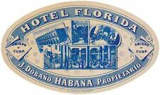 Havana Cuba Hotel Florida    Vintage 1950's Style Travel Decal Sticker Label