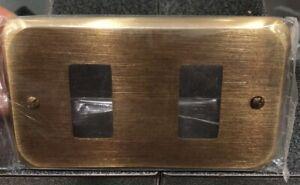 Placca Vintage Magic Bticino Mandelli  Design Metallo Oro Antico Brunito 2 Posto