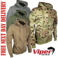 VIPER TACTICAL ZIPPED HOODIE POLYESTER TOP ARMY HOOD MULTICAM GREY GREEN COYOTE