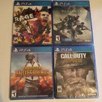 PS4 Lot of 4 Games: Rage 2, Destiny 2, Battlegrounds, Call of Duty WW II NEW