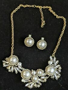 Gold Rhinestone Faux Pearl And Opal Statement Collar Necklace Earring Set