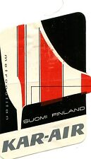 Vintage Airline Luggage Label KAR-AIR Suomi Finland METROPOLITAN