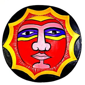 Hand Carved Wood Sun Face Wall Mask Handmade Hand Painted in Indonesia