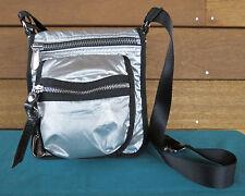 Nine West Silver Metallic Multi Zip Pocket Crossbody Shoulder Bag