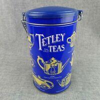 Empty Tetley Tea Tin Canister Locking Airtight Lid Collectible Teapot Designs