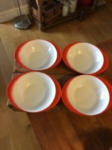 Vintage Gaydon Melmex – Set 4 Bright Orange Melamine Bowls – Retro! –