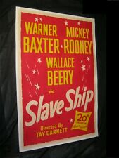 "Original SLAVE SHIP 1 Sheet 27"" X 41"" LINEN BACKED BEERY BAXTER ROONEY"