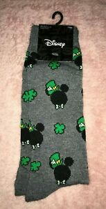 Mens Disney Mickey Mouse Lucky Green Crew Socks (SHOE SIZE 6.5-12)