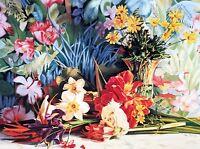 Exotica by Gehi Meday Floral Red Yellow Flower Arrangement Fine Art Print A1
