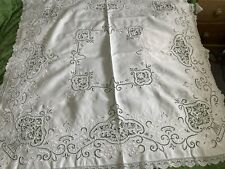 More details for antique hand embroidered italian linen tablecloth & six napkins fillet lace trim