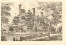 1880  ANTIQUE PRINT- ARCHITECTURE - LIVERPOOL - HOUSE AT AIGBURTH