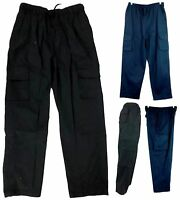 New Mens' Cargo Pants Trousers Elastic Waist 100% COTTON Plain Caual Pants