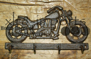 Cast Iron MOTORCYCLE Towel, Coat Hooks,  Hat Hook, Key Rack BIKE RIDER HARLEY