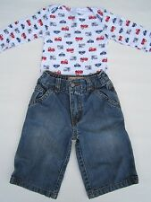 Boy's Fire Engine Truck Shirt Outfit 6-9m Childs Distressed Blue Jeans Pants