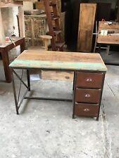 Schreibtisch Tisch Vintage Massiv Holz Recycling   Eisen Retromöbel