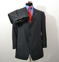 Armani Collezioni 44R 38x29 2PC Full Suit Dark Gray Plaid Wool Italy