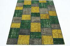 Patchwork Oriente Alfombra Vintage 200x150 verde oro lodo anudada a mano 167066
