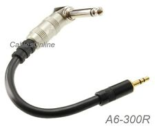 "4-inch Premium 3.5mm Stereo Male to Right-Angle 1/4"" Mono TS Plug Cable, A6-300R"