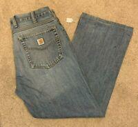 Mens Carhartt Denim Blue Jeans (Size W34 L28) L13