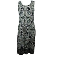 CHICOS Black Tan Blue Floral Sleeveless Dress Womens Size 0 (Small)