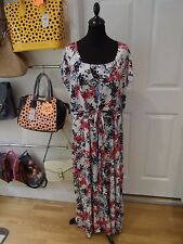 MSMODE Summer Dress in White/Pink/Blue/Grey Floral Print with Tie Back Size XXL