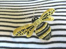 Quacker Factory Woman'S Knit Top, L ,Black & White Stripe, Embroidered Bee'S