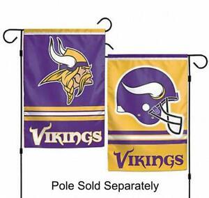 Minnesota Vikings 2 Sided Double Garden Flag Outdoor Window Banner 12 x18 New