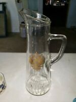 Vintage Tall Clear Glass Wine Pitcher Gold Crest Federal Law Prohibits